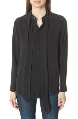 NWT EQUIPMENT Carleen Tie Neck Silk Blouse In Black Size M R