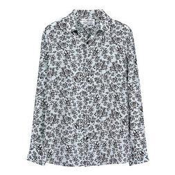NWT DM 169USD grey black floral print silk blouse size L Equ