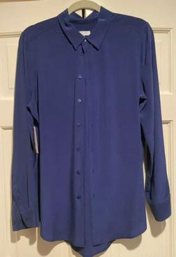 NWT Equipment Essential Silk Top Night Fall Blouse Large L N