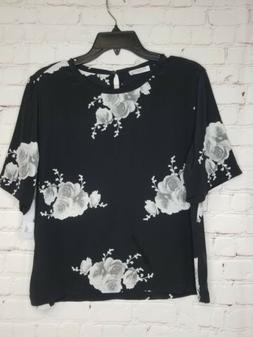 NWT Equipment Femme Floral 100% Silk Black Blouse Women's M