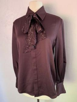 NWT EQUIPMENT FEMME Neck Tie Burgundy Blouse Size Small