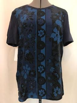 NWT Equipment Femme Riley Silk Tee Size S Short Sleeve Blue