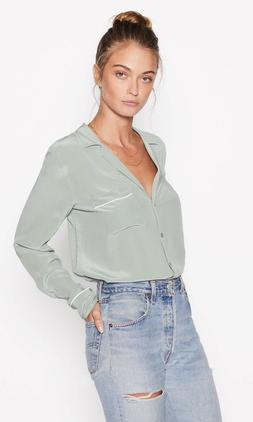 nwt keira silk shirt blouse olive branch