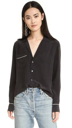 NWT Equipment Keira Silk Shirt Blouse, True Black Size S $21