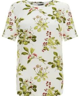NWT EQUIPMENT Large Bright White Silk Riley Short Sleeve Flo