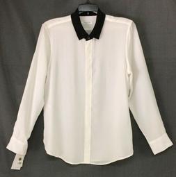 NWT Equipment LEEMA MSRP $208 White Black 100% Silk Blouse M