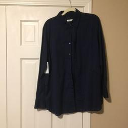 NWT Equipment Margaux Peacoat Navy Cotton Blouse Top Shirt L