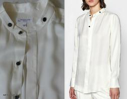 NWT Equipment Oranne SIlk Blend Tunic Blouse Shirt in NATURE