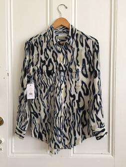 nwt xs signature silk shirt button down