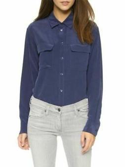 Equipment Peacoat Blue Washed Silk Signature Shirt Buttondow