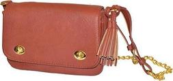 Pebble Grain Faux Leather Expandable Crossbody Cognac
