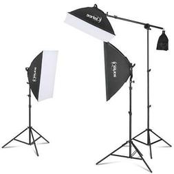 Photography Softbox Lighting Kit 45Wx3 Dimmable LED Light He