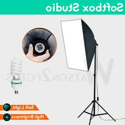 Photography SoftBox Lighting Kit Stand Continuous Soft Box E