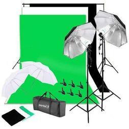 Photography Studio Light Lighting Backdrop Umbrellas Kit Equ