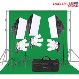 Photography Video Studio Lighting Kit Green Backdrop Umbrell
