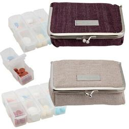 Adrienne Vittadini  Pill Organizer Case Cute Pill Box for Pu