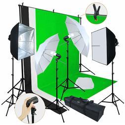 Professional Digital Photography Lighting Kit 3 Backdrop Equ