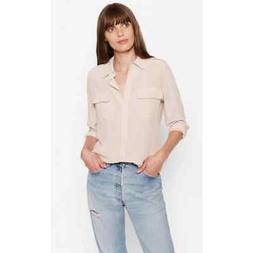 Equipment S Small Slim Signature 100% Silk Blouse Button Dow