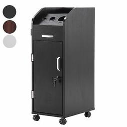 BarberPub Salon Trolley Storage Cart Hair Dryer Holder Styli