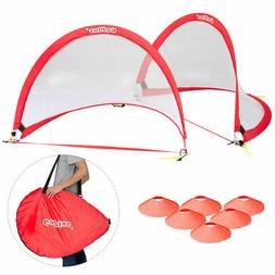 Set of 2 Portable 4' Pop-Up Soccer Goals Set For Backyard w