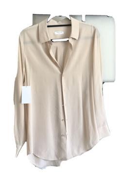 signature button down shirt blouse pale peach