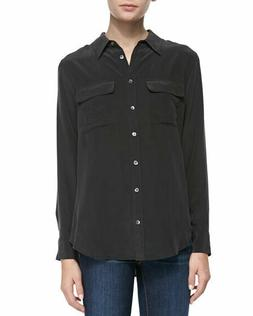 Equipment signature slim silk blouse black women's size S  N