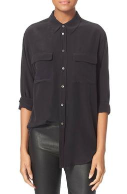 Women's Equipment 'Signature' Silk Shirt, Size Large - Black