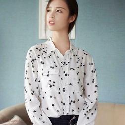 Slim Fit Equipment  Real SILK SHIRT Black Star Print Blouse
