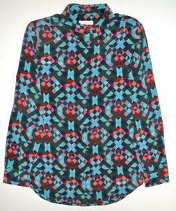 EQUIPMENT Slim Signature Geo Print Silk Shirt Blouse Size Sm