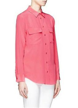 "Equipment ""SLIM Signature"" Silk Shirt $214, Carmine / Pink,"
