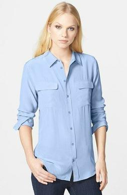 Equipment Slim Signature Women silk Shirt Blouse sky blue XS