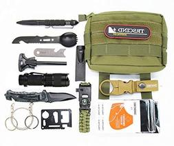 Survival Gear Kit 11 in 1 Molle Pouch EDC Survival Bag, SOS