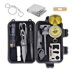 Emergency Survival Kit, 12 in 1 Outdoor Survival Gear Lifesa