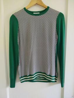 sweater green white blue silk wool size