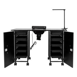 Vented Manicure Nail Table Station Black Steel Frame Beauty