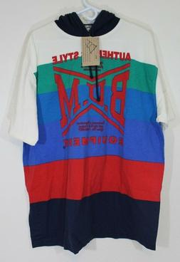 Vtg 1990's BUM Equipment Striped Hooded Long-Sleeved Shirt