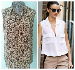 Equipment Femme Women's Leopard MED Shirt/Blouse 100% SILK