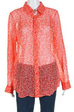 Equipment Womens Essential Blouse Hot Coral Bright White Siz
