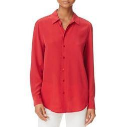 Equipment Femme Womens Silk High-Low Button-Down Blouse Top